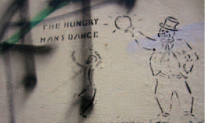 The hungry man's dance to the rhythm of capital.